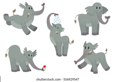 Vector set of cartoon images of funny gray elephants with different actions and emotions on a white background. Zoo. Vector illustration.