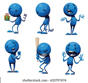 Vector set of cartoon images of funny little blue men with different actions and emotions on a white background. Positive character, creature. Vector illustration.