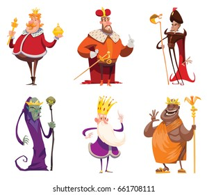 Vector set of cartoon images of funny various kings in different clothes with different attributes of power in hands standing on a white background. Monarchy, kingdom. Vector illustration.