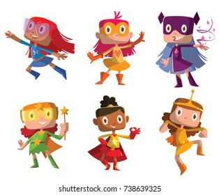 Vector set of cartoon images of funny little girls in various colors superhero costumes with different actions and emotions on a white background. Positive character, children, halloween, holiday.