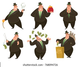 Vector set of cartoon images of funny fat men capitalists in black suits and hats with different actions and emotions on a white background. Business, finance, monopoly, money. Vector illustration.