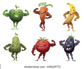 Vector set of cartoon images of green apple, orange carrot, yellow banana, green pear, red tomato and purple eggplant showing muscles and smiling on a white background. Healthy food, lifestyle, diet.
