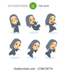 Vector set of cartoon images of a nun. Second Set. Isolated Vector Illustration