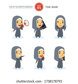 Vector set of cartoon images of a nun. First Set. Isolated Vector Illustration