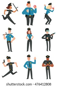 Vector set of cartoon images of police men and women in police uniform, in different poses on a white background. Vector illustration of police officers.