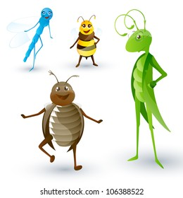 Vector Set of Cartoon Insects