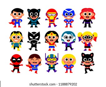 Vector Set Of Cartoon Kids Disguised As A Comic Characters