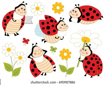 Vector set with cartoon ladybugs, flowers and butterflies. Vector cute ladybirds. Ladybugs vector illustration.