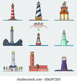 Vector set of cartoon line art lighthouses. Searchlight towers for maritime navigation guidance. Ocean beacon light vector tower lighthouse. Vector illustration.