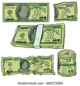 Vector Set of Cartoon Money. Green Banknotes, Bankroll and Bundle