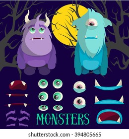 Vector set of cartoon monster characters. Colorful illustration in flat style. Design elements and icons for games, kids books and cartoons.