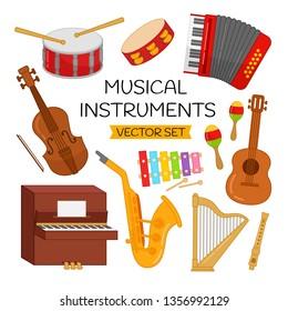 Vector set of cartoon musical instruments.