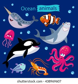 Vector set of cartoon ocean animals on a dark background. Childish illustration of narwhal, whale, shark, jellyfish, shrimp, octopus, x-ray fish and clown fish.