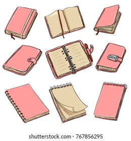 Vector Set of Cartoon Pink Notebooks, Notepads and Diaries