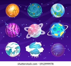 Vector set of cartoon planets. Colorful set of isolated objects. Astronomical observatory small planet pluto, venus mercury neptune uranus meteor crater and star universe astronaut sign.