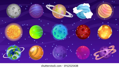 Vector set of cartoon planets. Space background. Fantasy planets. Colorful universe. Game design. EPS 10