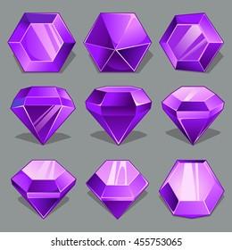 Vector set of cartoon purple gems in different perspective.