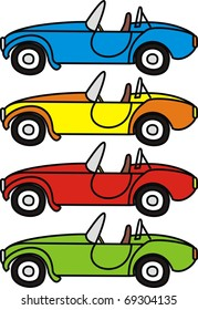 Vector set of cartoon retro cars - isolated illustrations on white background