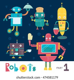 Vector set of cartoon robots isolated on a dark background. Part 1. Kids characters. Kitchen and cooking.
