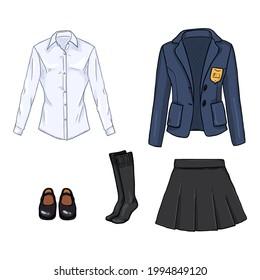 Vector Set of Cartoon School Girl Uniform Illustrations