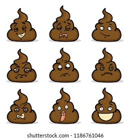 Vector Set of Cartoon Shit Characters. Turd Emoticons Collection.