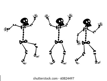 Vector set of cartoon skeletons