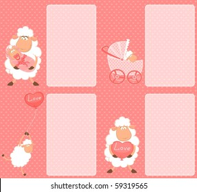 Vector set of Cartoon smiling sheep mother with infant baby
