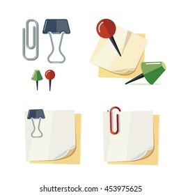 vector set of cartoon stationery illustration. Binder clips, push pins and paper clips. Picture isolate on white background