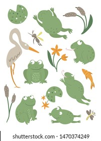Vector set of cartoon style flat funny frogs in different poses with waterlily, dragonfly, mosquito, reed, heron clip art. Cute illustration of woodland swamp animals. Collection of amphibians