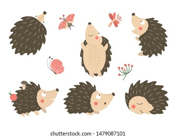 Vector set of cartoon style flat funny hedgehogs in different poses with dragonfly, butterfly, ladybug clip art. Cute illustration of woodland animals for children's design