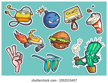 Vector set of cartoon teen stickers with object and characters in comics style. Hand drawn illustrations of fast food, retro audio accessories, win sign. Symbols of street lifestyle