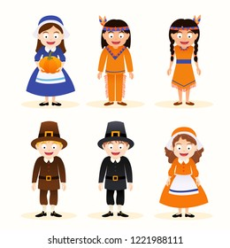 Vector set of cartoon thanksgiving character, indian and pilgrim isolated on white background