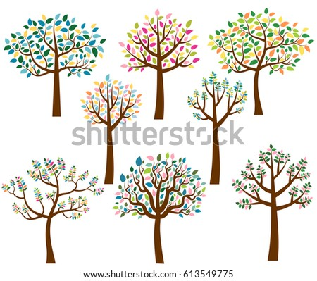 Vector Set Cartoon Trees Colorful Leaves Stock Vector Royalty Free