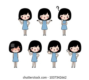 Vector set of cartoon woman in blue casual cloth with different expression. Isolated on white background. Flat design. Colored vector illustration.