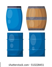 Vector set casks on a white background. Illustration of a wooden and metal blue barrels, 