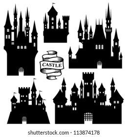 Vector set of castle silhouette