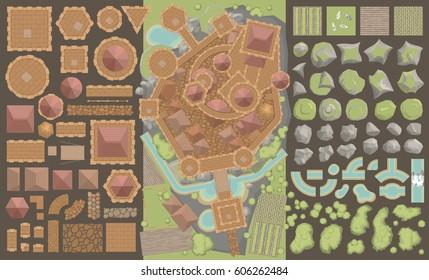 Conjunto de vectores. Vista superior del castillo.  Torres, paredes, techos de tejas, pavimento, rocas, foso. (Vista desde arriba)  Una colección de elementos arquitectónicos para castillos medievales, ciudades, fortalezas, edificios.