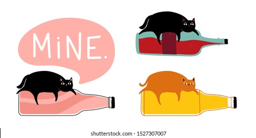 Vector set with cats and bottles - soda or lemonade, wine and beer. Mine lettering word in speech bubble. Funny collection with animals and hot drinks