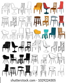 vector, set of chairs, silhouette of a chair, sketch of a chair