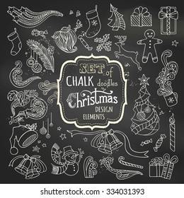 Vector set of chalk Christmas design elements. Christmas tree and baubles, Santa sock, hat and beard, gifts, candy canes, snowman, gingerbread man, deer, cup, holly berries on blackboard background.