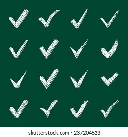 Vector set of chalk confirm icons set for check box design.