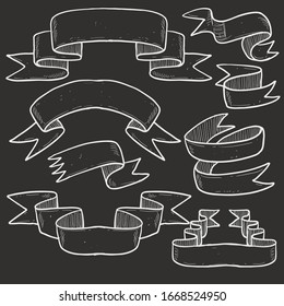 Vector set of chalk doodle scrolls and ribbons on the chalkboard background