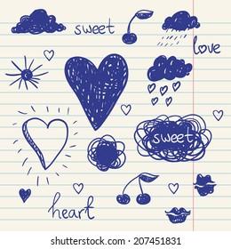 vector set of chalk doodles icluding cloud, hearts, laurel wreath, sunglasses, rose, cherry