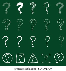 Vector Set of Chalk Question Marks on Green Background