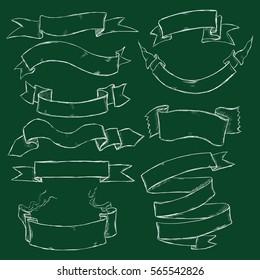 Vector Set of Chalk Ribbons on Dark Green Background