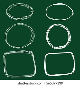 Vector Set of Chalk Sketch Abstract Doodle Frames. Circle and Rectangle