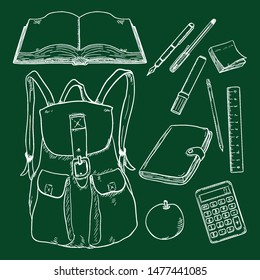 Vector Set of Chalk Sketch Backpack and School Supplies