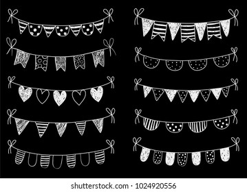 Vector set with chalkboard hand drawn doodle buntings