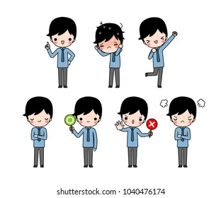 Vector set of character cartoon cartoon young businessman in blue long sleeve shirt with different expression. Isolated on white background. Flat design. Colored vector illustration.