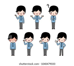 Vector set of character cartoon young businessman in blue long sleeve shirt with different expression. Isolated on white background. Flat design. Colored vector illustration.